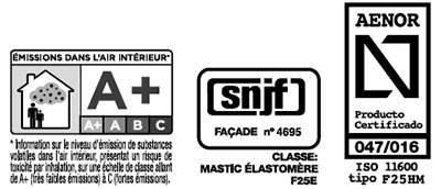 Certificado energético A+ SNIF AENOR del sellante de polímero MS-35