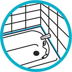 Sellante acrílico para bañeras, lavabos y wc.